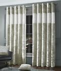 Luxury Diamante Crushed Velvet Curtain Pair Fully Lined Ring Top Natural