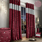 Luxury Diamante Crushed Velvet Curtain Pair Fully Lined Ring Top Raspberry
