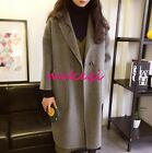 New Fashion Womens Woolen Coat Lapel Casual Loose Trench Coat Spring Outerwear