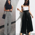 UK Stock Women OL Loose Stretch High Waist Wide Leg Long Pants Palazzo Trousers
