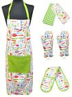 100% Cotton Apron Oven Mitt Gloves Tea Towels BBQ Cooking PopinCutlery XMAS Gift