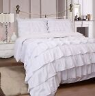 White Duvet Set Soft 4Pc  Complete Ruffles Set With Fitted Sheet & Pillowcase