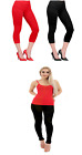 Ladies Cotton Leggings 3/4 Length Available in Red or Black
