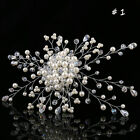 Wedding Bridal Pearl Flower Hair Pins Clips Crystal Bridesmaid Side Comb Jewelry