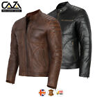 MENS BIKER MOTORCYCLE GENUINE BROWN DISTRESSED LEATHER JACKET NEW S-3XL VINTAGE
