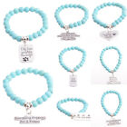 Turquoise Gemstone Beads Bracelet Dog Tag Paws Heart Sisters Love Family Bangle