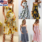 Plus Size Women Boho Floral Long Maxi Dress Evening Party Be
