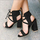 UK Womens Block High Heels Sandals Ladies Lace Up Open Toe Summer Shoes Size