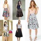 Women Retro Floral Print High Waist Pleated Ball Gown A-Line Skater Midi Skirt