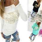 Fashion Women Loose Blouse Pullover T Shirt Long Sleeve Cotton Tops Shirt Top BD