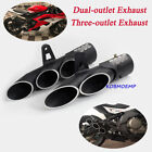 Univeral 38-51mm Motorcycle Dual-outlet/Three-outlet Exhaust Tips Pipe Aluminum