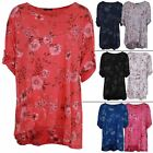 Ladies Top Italian Lagenlook Women Floral Print Scooped Neck Casual Tunic Summer