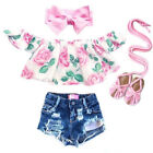 Baby - Toddler Kids Baby Girl Off Shoulder Flower Tops+Denim Shorts Outfits Clothes US