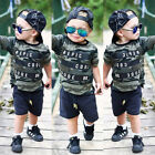 USA Toddler Kids Baby Boys Letter T Shirt Top+Camouflage Shorts Outfits Clothes