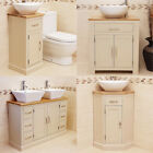 Cream Painted Off White Bathroom Vanity Unit with Oak Top Basin Sink & Tap