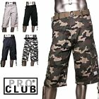 PRO CLUB MENS CASUAL TWILL CARGO SHORTS PANTS 100% Cotton SIZE 30-56