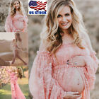 Fashion Pregnant Women Lace Dress Maternity Maxi Gown Dress Photography Props US
