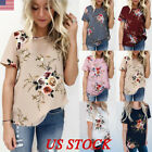 US Summer Womens Floral Tops Blouse Ladies Short Sleeve T-Sh