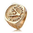 New 18K Yellow Gold-plated Titanium Steel Freemason Masonic Band Ring for Men T