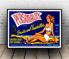 Personality : Vintage fruit advertising, poster, Wall art, poster, reproduction.