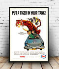 Tiger in your Tank : Vintage advert, poster, Wall art, poster, reproduction.