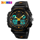 HOT SKMEI Mens Waterproof Sport Army Alarm Date Analog Digital Black Wrist Watch