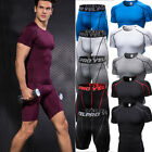 Mens Workout Fitness Set Compression Tights Gym Clothes Mois