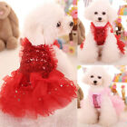 USA Cute Dog Cat Sequin Tutu Dress Lace Skirt Pet Puppy Wedding Party Clothes