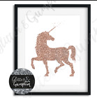 Beautiful Rose Gold Unicorn girls office bedroom wall art print colour options