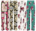 Womens Baroque Scarf Print Palazzo Trousers Ladies Wide Flared Leg Trousers