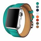 Genuine Leather Watch Band Double Tour Strap For Apples Watch Series 3 2 1