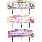 Brite Colorful Floral SIGN with 3 Hooks to Hang Items On~Choose Your Inspiration