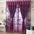 US Floral Tulle Curtain Sheer Drape Panel Door Window Voile Sheer Scarf Valances