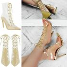 Womens Ladies Lace Up Clear Perspex High Heels Stilettos Ankle Calf Boots Size