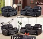 Drink Holder Real Valencia Sofa Recliner 3 + 2 Seater Sofa Leather Black Brown