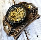 Handtooled steampunk watch  Brown leather watch  Cuff watch  Leather bracelet