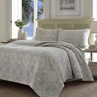 Tommy Bahama 220123 Turtle Cove Reversible Quilt Set,Pelican Gray,King