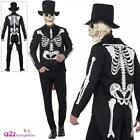Mens Day of the Dead Senor Skeleton Costume Adults Halloween Fancy Dress Outfit