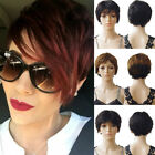 black hair with ombre red - Sexy Ladies Short Human Hair Wig With Bangs Ombre Yellow Red Brown Women Daily W