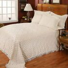 NEW Stylemaster Diamond Beige Ivory Cotton Chenille Bedspread and Sham Set  image