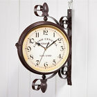 Rotating Double Side Wall Clock Outdoor Garden Station Mounted W/Bracket 9066U