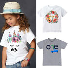 Toddler Baby Girls Boys Short Sleeve T-shirt Casual Unicorn Birthday Tops Blouse