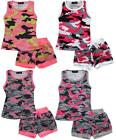 Girls Neon Army Geometric Print Vest Tank Top & Shorts Outfit Set 2 to 12 Years