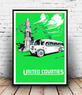 United Counties : Vintage Bus travel , poster, Wall art, reproduction.