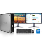 Dell Desktop Computer PC Tower Intel Windows 10/7 WIFI Dual LCD Monitor 17 /19