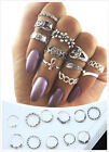 27 Styles Gold Silver Ring Set Vintage Crystal Above Knuckle Band Midi Ring