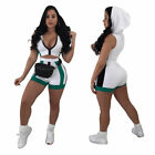Women summer hooded sleeveless zipper casual sports bodycon short pants suit 2pc