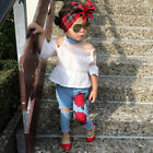 Toddler Kids Baby Girl Strapless T-Shirt Tops+Hole Rose Jeans Outfit Clothes Set