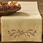 Embroidered BURLAP & BITTERSWEET TABLE RUNNER, 3 sizes, 100% cotton, so pretty!