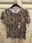 MOSSY OAK Shadow Grass Blades Short Sleeve Ladies CAMO T-Shirt Pink Accent